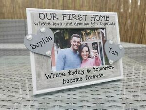 Personalised Our First Home Photo Picture Frame In Grey, Any Wording. New Home