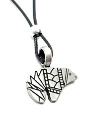 Zuni Bear Pewter Pendant Native American Indian Corded Beaded Necklace Jewellery