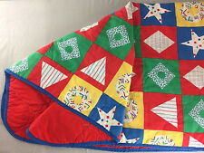 "Vintage Twin Quilted Blanket Bedspread Reversible Quilt Print / Red 61""x87"""