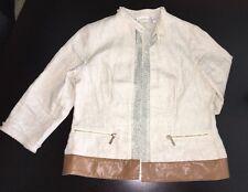 Chicos Womens Size 0 Cream Linen Jacket Metallic Details Light Weight Spring