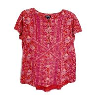 Lucky Brand Pink Purple Floral Short Sleeve Henley T-Shirt Women's Size Large L