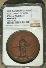 1888 Ancient & Honorable Artillery Co. Of Mass 250Th Ann Ngc Ms64 : Bronze 45mm