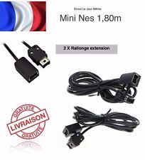 2 Câble Extension Rallonge 1.80m manette Nintendo Mini NES Classic + Super /24H
