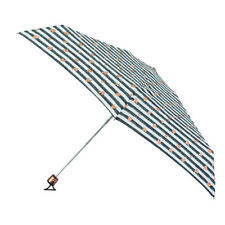 Totes Compact Flat Small Ladies Folding Umbrella - Stripe with Copper Hearts