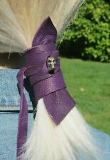 Leather SKULL Ponytail Holder Hair Jewelry Cuff Tie Wrap Accessory Purple Beaded