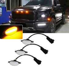 Direct Fit Ford Raptor 3X Clear Lens 12SMD Amber LED Front Grille Running Lights