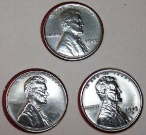1943 P D S **ie choice(VG-AU)** Wheat head Lincoln 3 Penny Set,