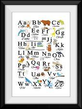Kinderzimmer Poster ABC TIERALPHABET A4 Plakat Schule Lernen Einschulung Bild