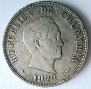 1922 COLOMBIA 50 CENTAVOS - RARE Vintage Silver Coin - Lot #F23