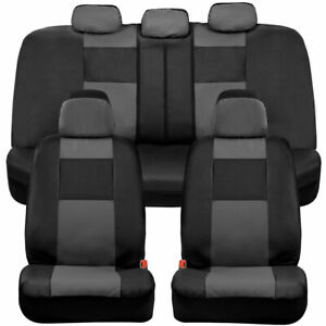 BDK Faux Leather Car Seat Covers - Front & Rear Full Set Two-Tone Black & Gray