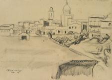 Blick auf Chieti, Italien, 1924, Bleistift