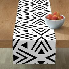 Table Runner Mod African Jumbo Black White Shapes Cotton Sateen