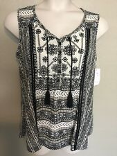 (NWT) Style&Co Women's Black Embroidered Peasant Tank Top Plus Size 3X
