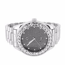Techno Pave Watch Silver Tone Presidential Bracelet Simulated Diamond Round Cut