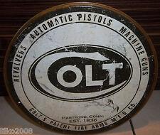 "COLT REVOLVERS & PISTOLS, ROUND 12"" METAL WALL SIGN, GUNS, COWBOY, SHOOTING 31cm"