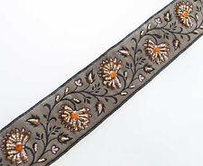 Hand-Beaded Trim Persimmon Flowers /& Metallic Gold Trimming