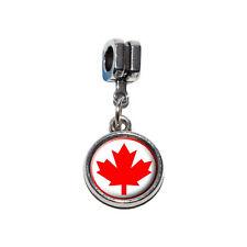 Canada Maple Leaf Flag - Italian European Style Bracelet Charm Bead