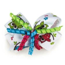 Dog Puppy Barrette Bow w Metal Spring Clip - Aria - Darling Owls - Set of 4