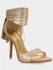 NIB MARCIANO guess ROXANNE BOW GOLD LEATHER RUNWAY SHOES 6.5 7 8.5