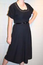 M~L Black Semi-Sheer Rayon Pink Silk Rhinestone Studded Vtg 40s Fit Flare Dress