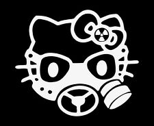 HELLO KITTY GAS MASK ZOMBIE CAR WINDOW STICKER VINYL DECAL #079