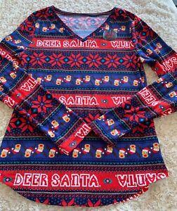 NEW No Boundaries Juniors Santa Reindeer Red Game Long Sleeve Pajama Shirt 11-13