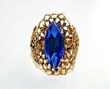 Antique Royal Blue Glass Rhinestone Filigree Goldtone Ring Ajustable Size 8.5