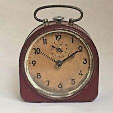 Vintage 1930's German Maroon Tin Alarm Clock Shabby Chic Fantastic Patina Rare