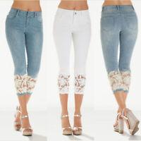Womens Lace Skinny Denim Capri Pants Cropped Trousers Skin Tight Flexible Jeans