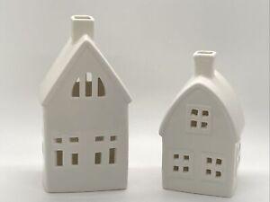 "2 White Ceramic Decorative House/Barn Buildings Lanterns LED Light 7 1/4"" & 6"""