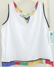 Lily'S of Beverly Hills Tennis Golf Sleeveless Shirt Blouse, White, Size S, Nwt