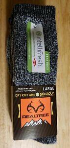 2 Realtree Socks Wool Blend Dry Knit Gray w/ Silvadur Hunting, Hiking.USA size L
