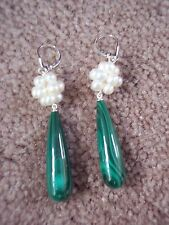 Sterling Silver 4-4.5mm Freshwater Cultured Pearl & Malachite Earrings