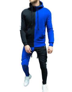 Mens Jogger Tracksuit 2 Piece Hip Hop Pants Jacket Sweatsuit Sweatshirt Set