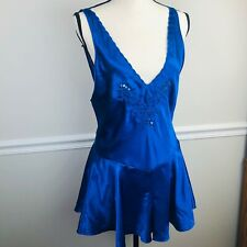 Vintage Fredericks of Hollywood teddy Shiny Satin blue woman's Lingerie M sexy