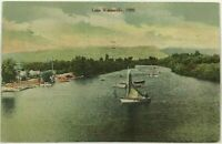 Lake Watsonville California CA Sailboat Boats Aerial Bird's Eye View Postcard