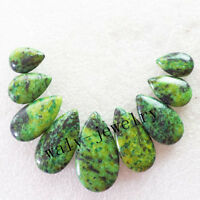 9pcs Intriguing Green Jasper Teardrop Pendant Bead Set Q0109840
