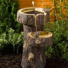 Solar Power Outdoor Garden Tree Trunk Birdbath Water Fountain Feature | Cascade
