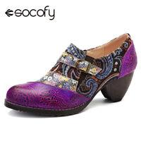SOCOFY Women Bohemia Genuine Leather Shoes Splicing Jacquard Zipper Boots
