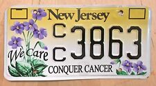 """NEW JERSEY CONQUER BREAST CANCER LICENSE PLATE """" CC 3863 """" NJ WE CARE FLOWERS"""