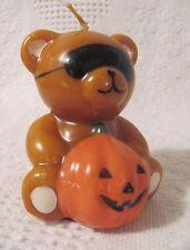 "Halloween - Shaped Candle - Teddy Bear Wearing Mask Holding Pumpkin 3-1/2"" Tall"