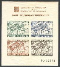 HOJA BLOQUE SIN DENTAR - FOYER DU FRANCAIS ANTIFASCISTE - GUERRA CIVIL - LOCALES