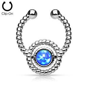 1pc NON-Piercing Silver Roped Circle Design Septum Hanger Opal Gem Fake Ring