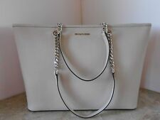 New MICHAEL KORS Jet Set Travel Chain MED Top Zip MULTI FUNCTION Tote CEMENT