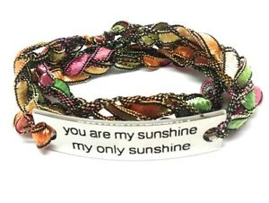 """Inspirational Word Connector Crocheted Wrap Bracelet """"You are my sunshine..."""""""