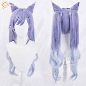 Game Genshin Impact Keqing Costume Cosplay Hair Wig Anime +Cap