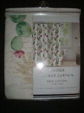 """New Envogue 100% Cotton Shower Curtain 72 x 72"""" Cactus Flower w/Script Multi"""