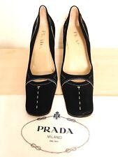 PRADA New W/ Box STUNNING Black Suede Pumps/ Contrast Ivory Stitching SZ 38 8 M.