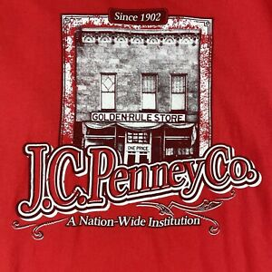 JCPenney Mens Vintage Shirt XL Short Sleeve Top Red Graphic Tee