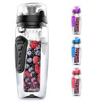 1000ml/32oz Fruit Infusing Infuser Water Bottle Plastic Sports Detox Health V4E8